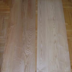 """Массивная доска, ясень 20х140х1400 мм, сорт """"селект"""". Слева - селекция кремового ясеня, справа - селекция белого ясеня"""
