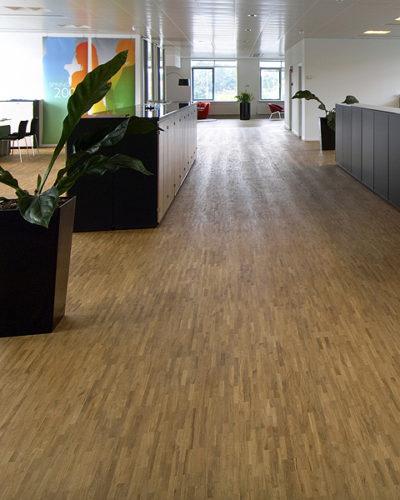 Современный офис с полами из ламельного паркета 8x23x160